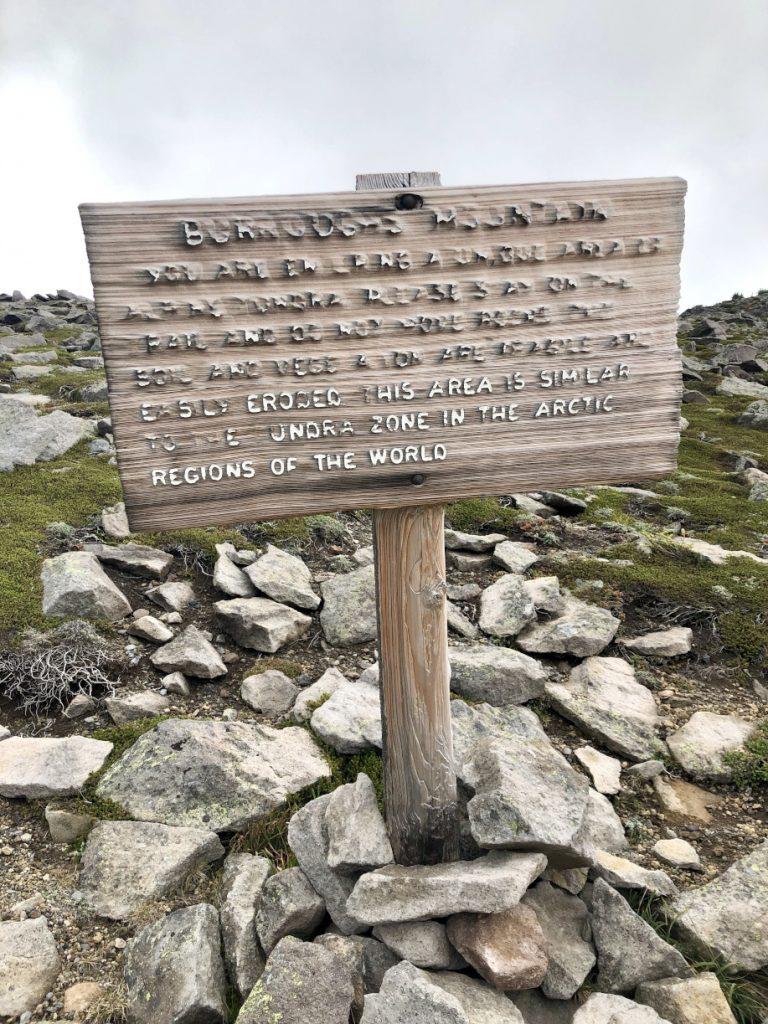 burroughs mountain trail sign