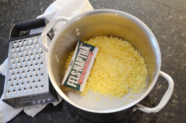 grated bar of soap into stockpot