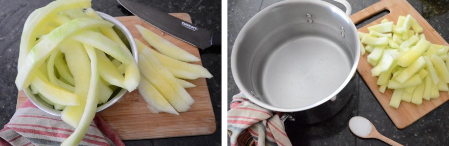 pickled watermelon rind prepped to boil