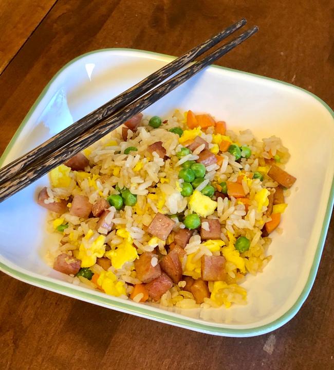 served filipino spam fried rice