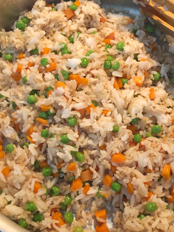 fried rice with peas and carrots